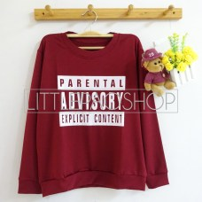 Parental Advisory Sweater (maroon) - ecer@66rb - seri4w 244rb - katun - fit to L