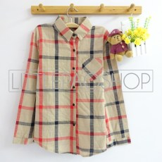 Sonya Plaid Shirt (cream) - ecer@68rb - katun - fit to L