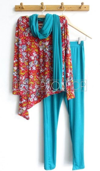 Asymmetric Hijab Set (tosca) - ecer@95rb - spandex korea - fit to L