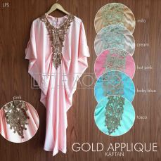 Gold Applique Kaftan (READY MILO) - ecer@87rb - bahan twistcone - fit to XL