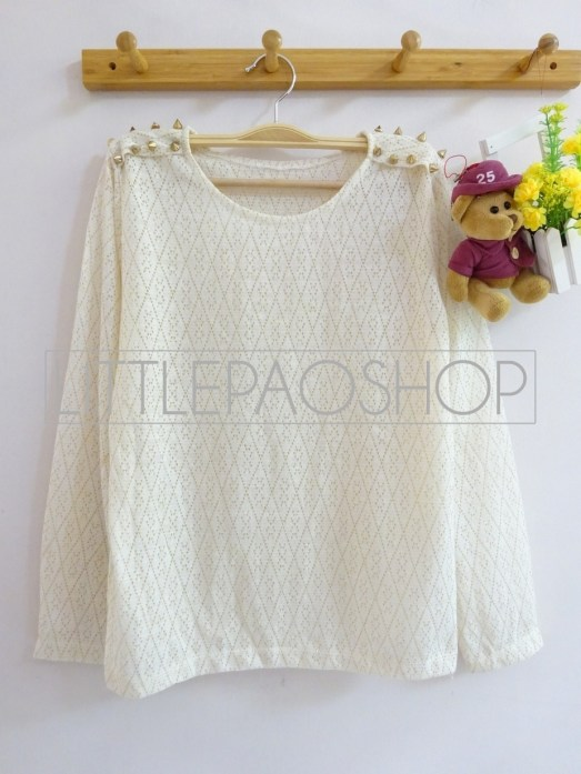 Goldie Studded Top (white) - ecer@88rb - rajut - fit to L
