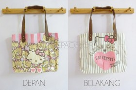 HK University Totebag - ecer@63rb - seri4pcs 232rb - jeans asli+tali kulit+sleting