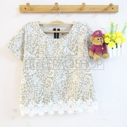 IMPORT - Sekar Lacey Top (cream) - ecer@65rb - seri4w 240rb - wedges velvet tesktur + renda - fit to L