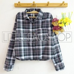 Luna Crop Flanel Shirt (grey) - ecer@85rb - seri3w 240rb - flanel - fit to L