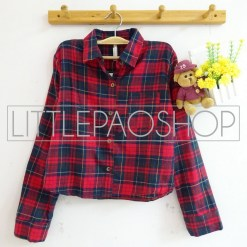 Luna Crop Flanel Shirt (red) - ecer@85rb - seri3w 240rb - flanel - fit to L