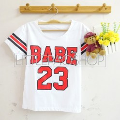 Triple Line BABE Baseball Tee (white)- ecer@40rb - seri 2warna 70rb - kaos - fit to L