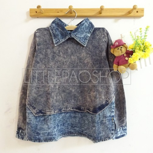 Acid Denim Collar Shirt (black) - ecer@86rb - ser4w324rb - babyterry+jeans - fit to L