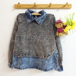 Acid Denim Collar Shirt (grey) - ecer@86rb - ser4w324rb - babyterry+jeans - fit to L