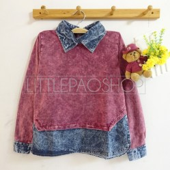 Acid Denim Collar Shirt (maroon) - ecer@86rb - ser4w324rb - babyterry+jeans - fit to L