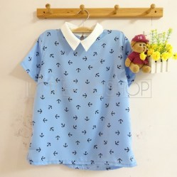 Anchor Path Collar Top (blue) - ecer@65rb - seri4w 240rb - satin - fit to L