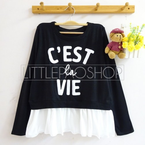 C'est La Vie Top (black) - ecer@65rb - seri4w 240rb - spandex+twistcone - fit to L