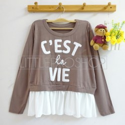 C'est La Vie Top (choco) - ecer@65rb - seri4w 240rb - spandex+twistcone - fit to L