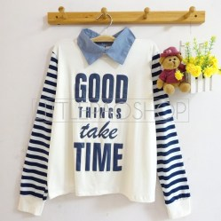 Good Things Take Time Sweatshirt (white) - ecer@65rb - seri4pcs(2w) 240rb - spandex+denim+sablon emboss - fit to L