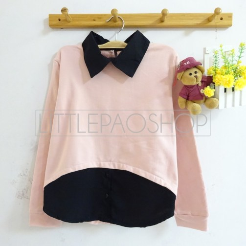 HiLo Collar Sweater (pink) - ecer@76rb - seri4w 284rb - babyterry - fit to L