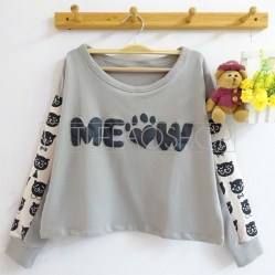 MEOW Face Top (grey) - ecer@70rb - seri4pcs(2grey2black) 260rb - babyterry+sablon timbul - fit to L