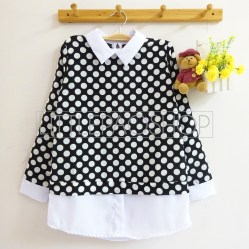 Polka Collar Top (black) - ecer@70rb - seri3w 195rb - twistcone - fit to L