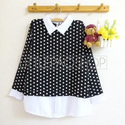 Polka Collar Top (black) - ecer@70rb - seri4w 260rb - twistcone - fit to L