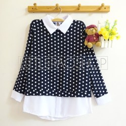 Polka Collar Top (navy) - ecer@70rb - seri4w 260rb - twistcone - fit to L