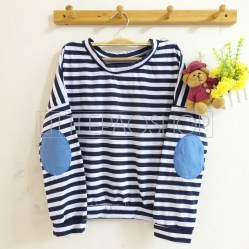 Stripey Elbow Patch Denim (navy) - ecer@65rb - seri3w 180rb - kaos+patch denim - fit to L
