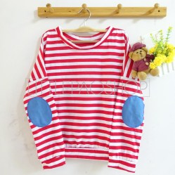 Stripey Elbow Patch Denim (red) - ecer@65rb - seri3w 180rb - kaos+patch denim - fit to L