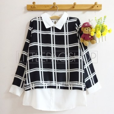 Windows Collar Top (black) - ecer@70rb - seri4pcs(2black2white) 260rb - twistcone - fit to L