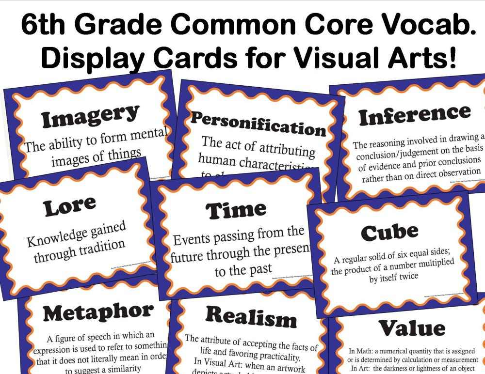 medium resolution of Common Core Language Arts Vocabulary for Visual Arts for 6th Grade - The  smARTteacher Resource