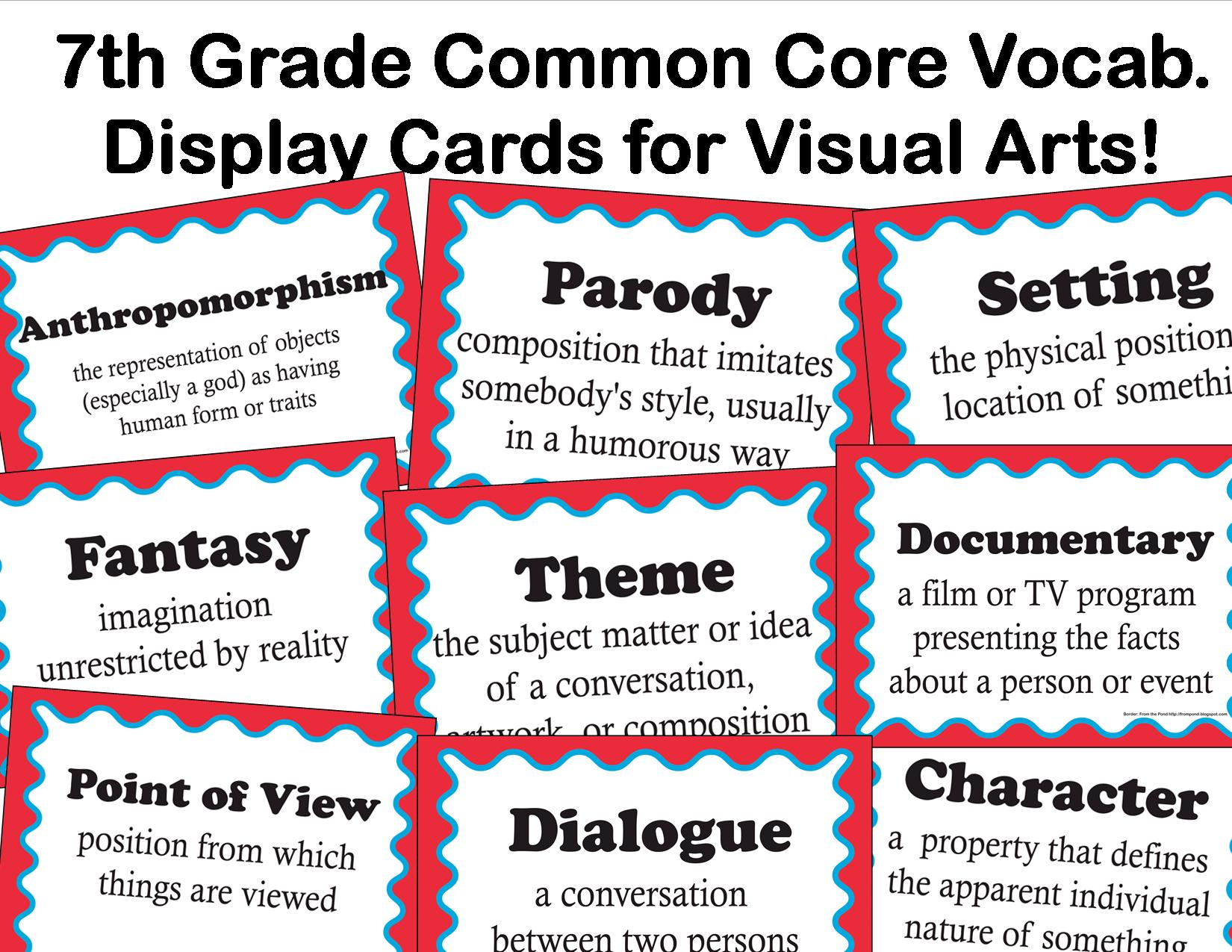 The Smartteacher Resource Common Core Language Arts Vocabulary For Visual Arts For 7th Grade