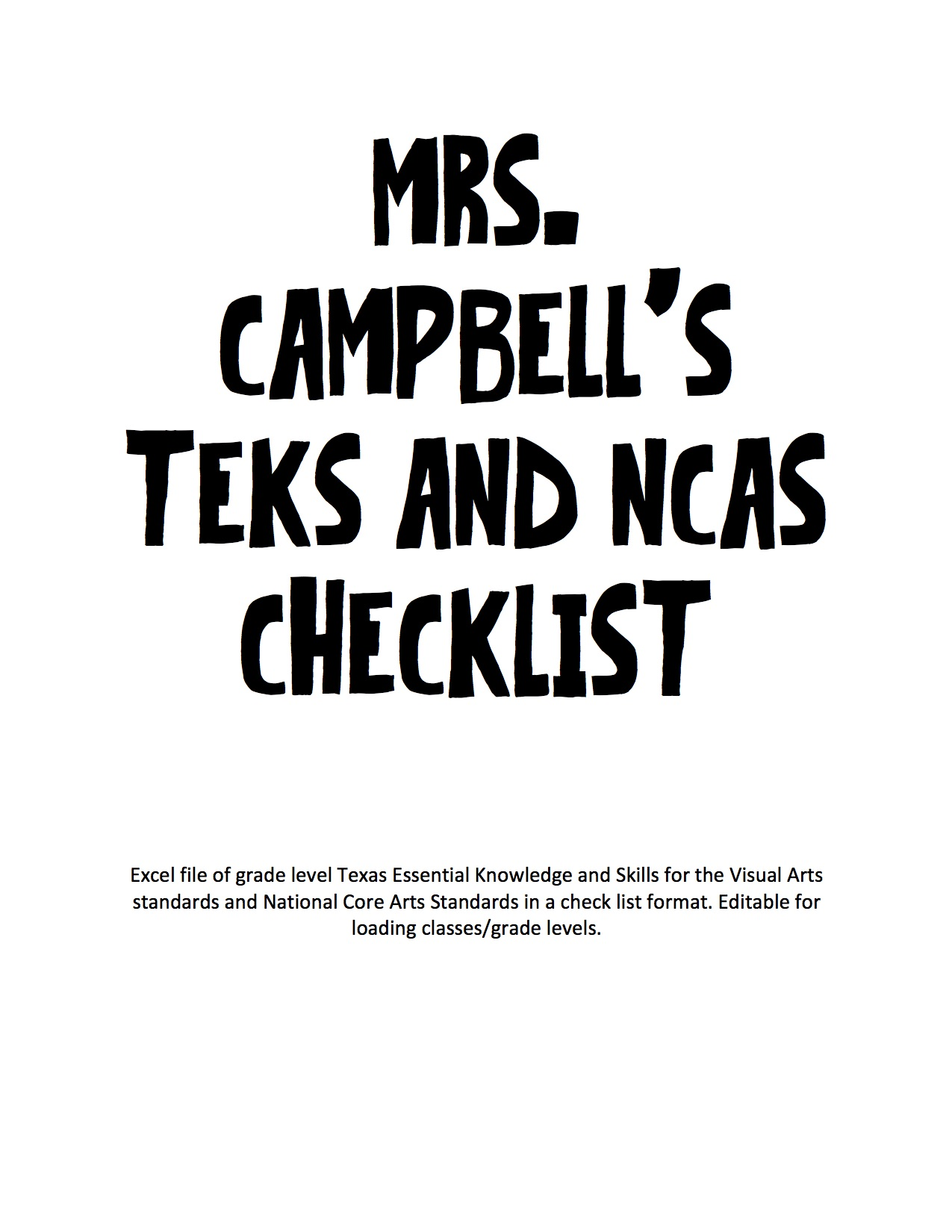 The smARTteacher Resource: Kindergarten TEKS & NCAS Checklist