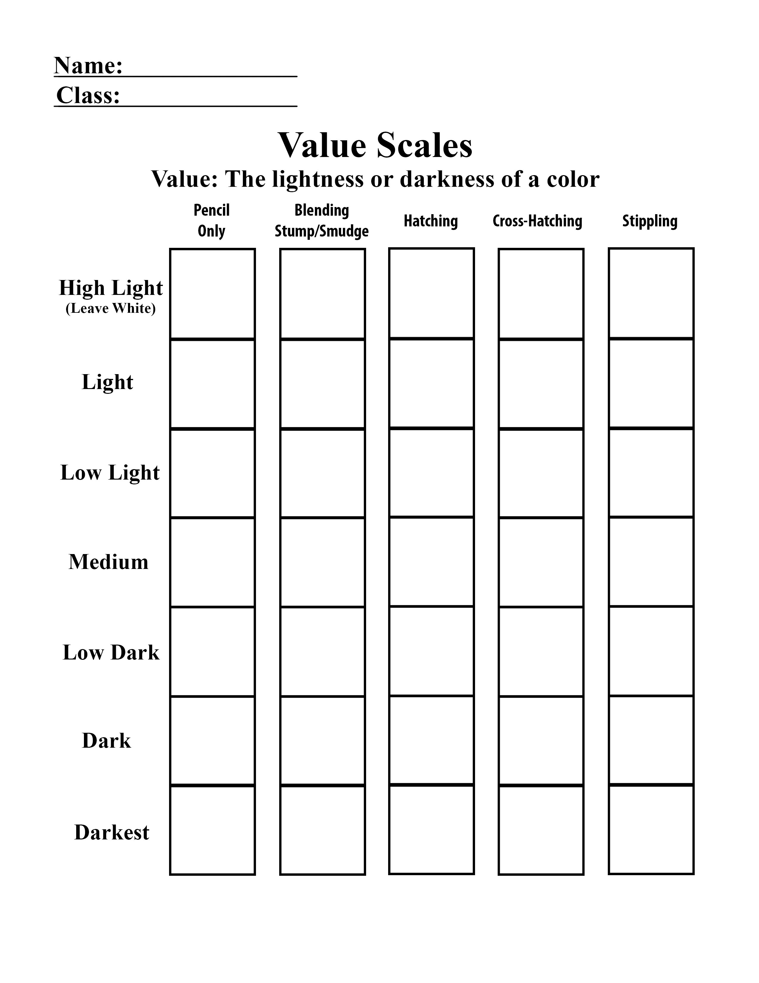 Stippling Value Scale Worksheet