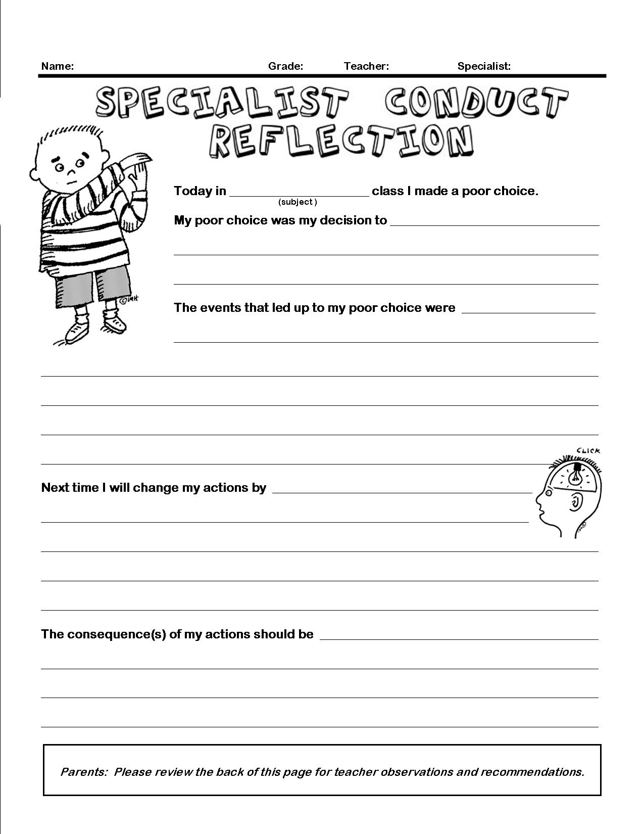 The Smartteacher Resource Conduct Reflection Form