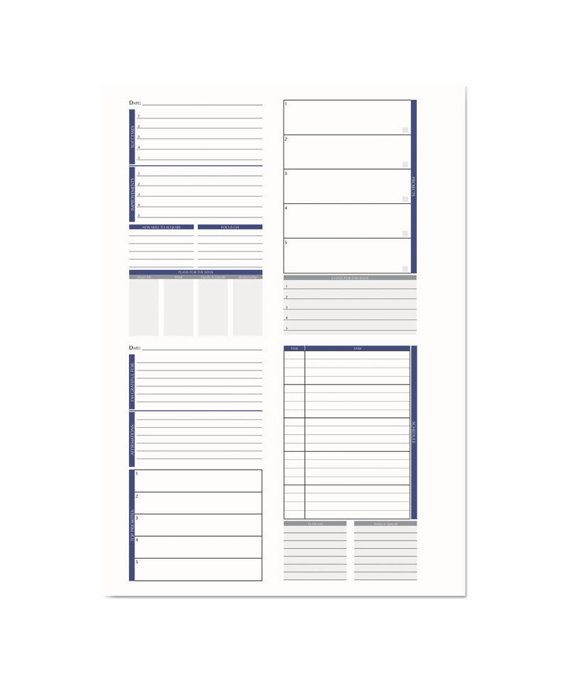 Productivity and Goal Non-Dated Planner, 6 1/4 x 9 1/4, Blue