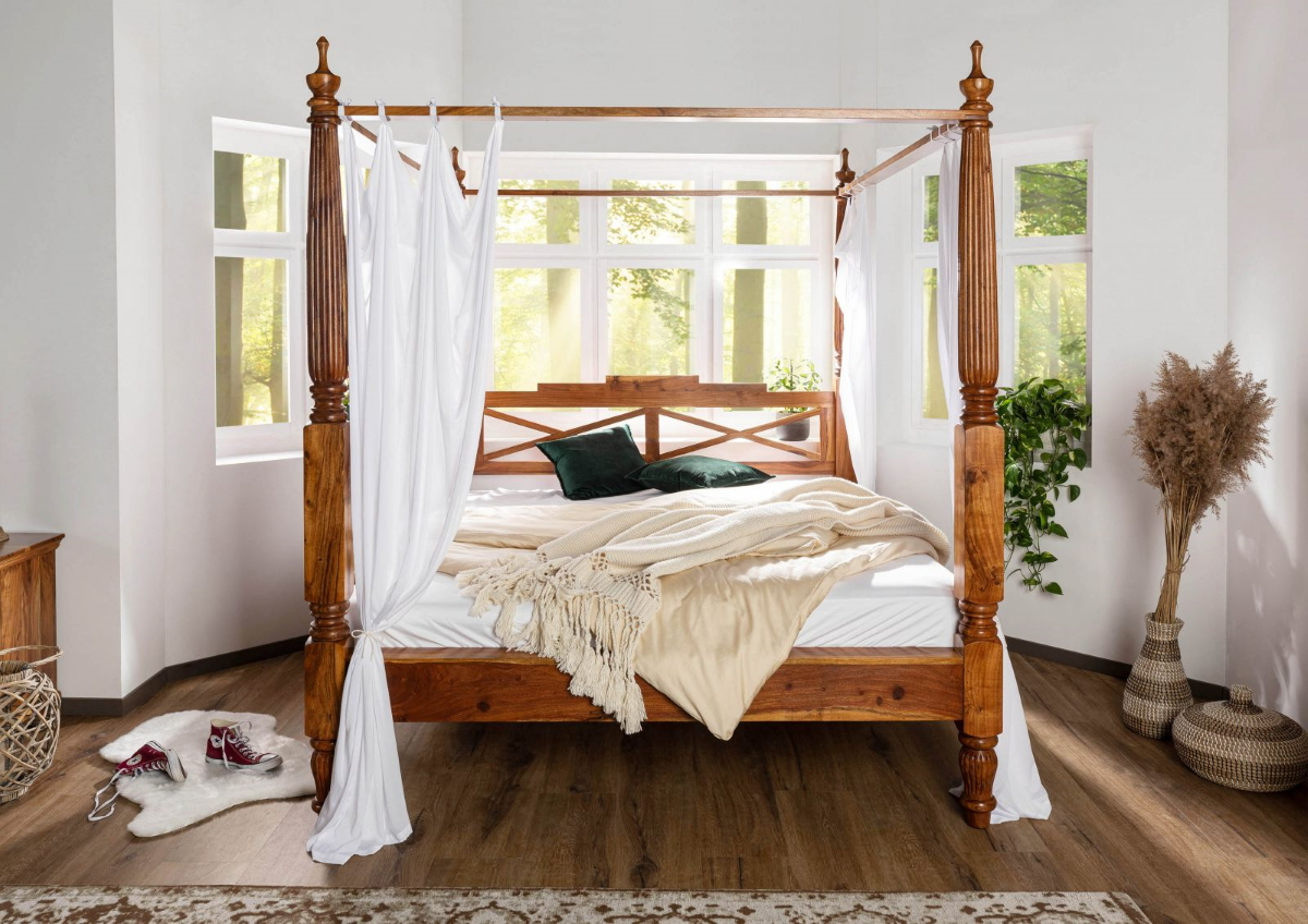 Himmelbett Holz 180x200 Wooden Four-poster Bed 180x200 Cm Made Of Acadia Wood Nougat Or Honey With White Cover | Supply24