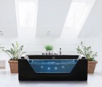 Whirlpool Badewanne freistehend mit Glas LED Licht ...
