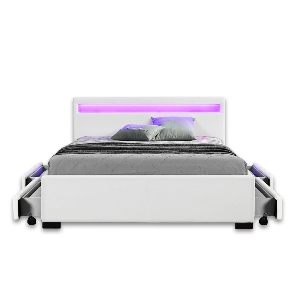 Designer Bed Leather Bed With Led White Black Dark Grey With Slatted Frame Bed Box Supply24