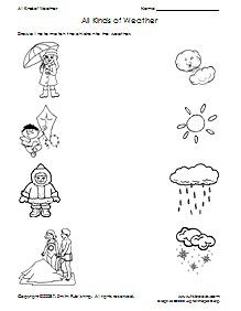 All Kinds of Weather Matching Worksheet
