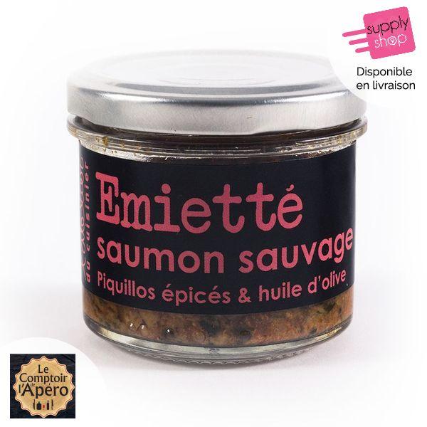 emiette de saumon sauvage piquillos epices et huile d olive l atelier du cuisinier le comptoir de l apero