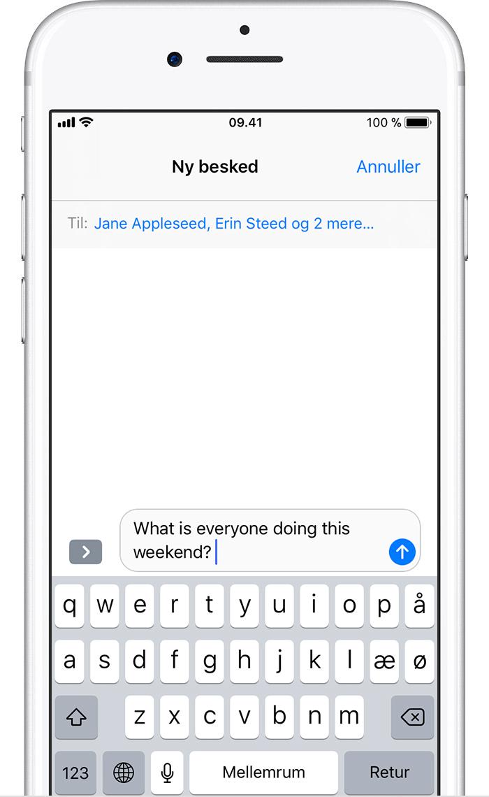 Afsendelse af gruppebeskeder på iPhone, iPad eller iPod