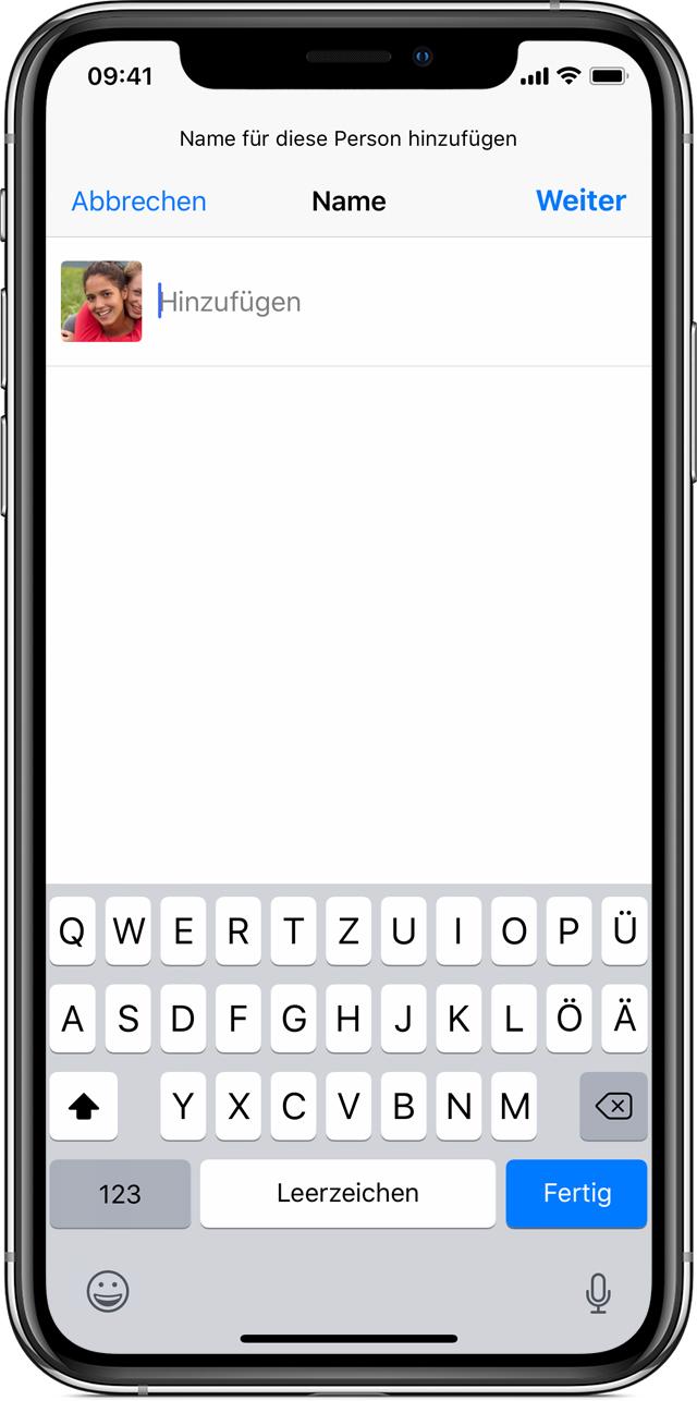 Informationen zu Personen in Fotos auf deinem iPhone, iPad