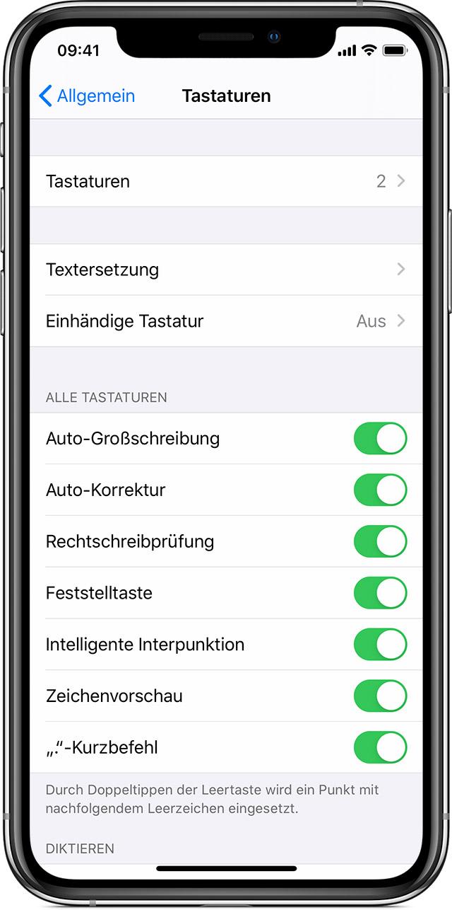 Informationen zu den Tastatureinstellungen auf dem iPhone