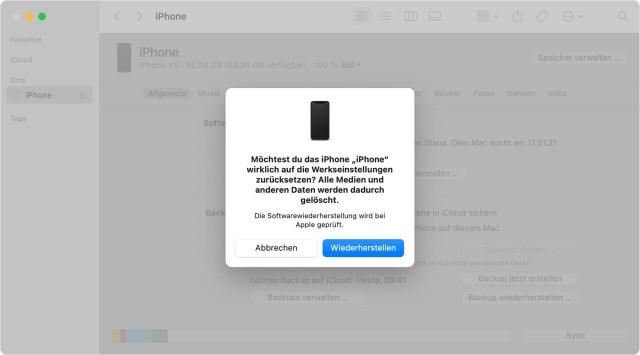 iPhone, iPad oder iPod auf die Werkseinstellungen zurücksetzen