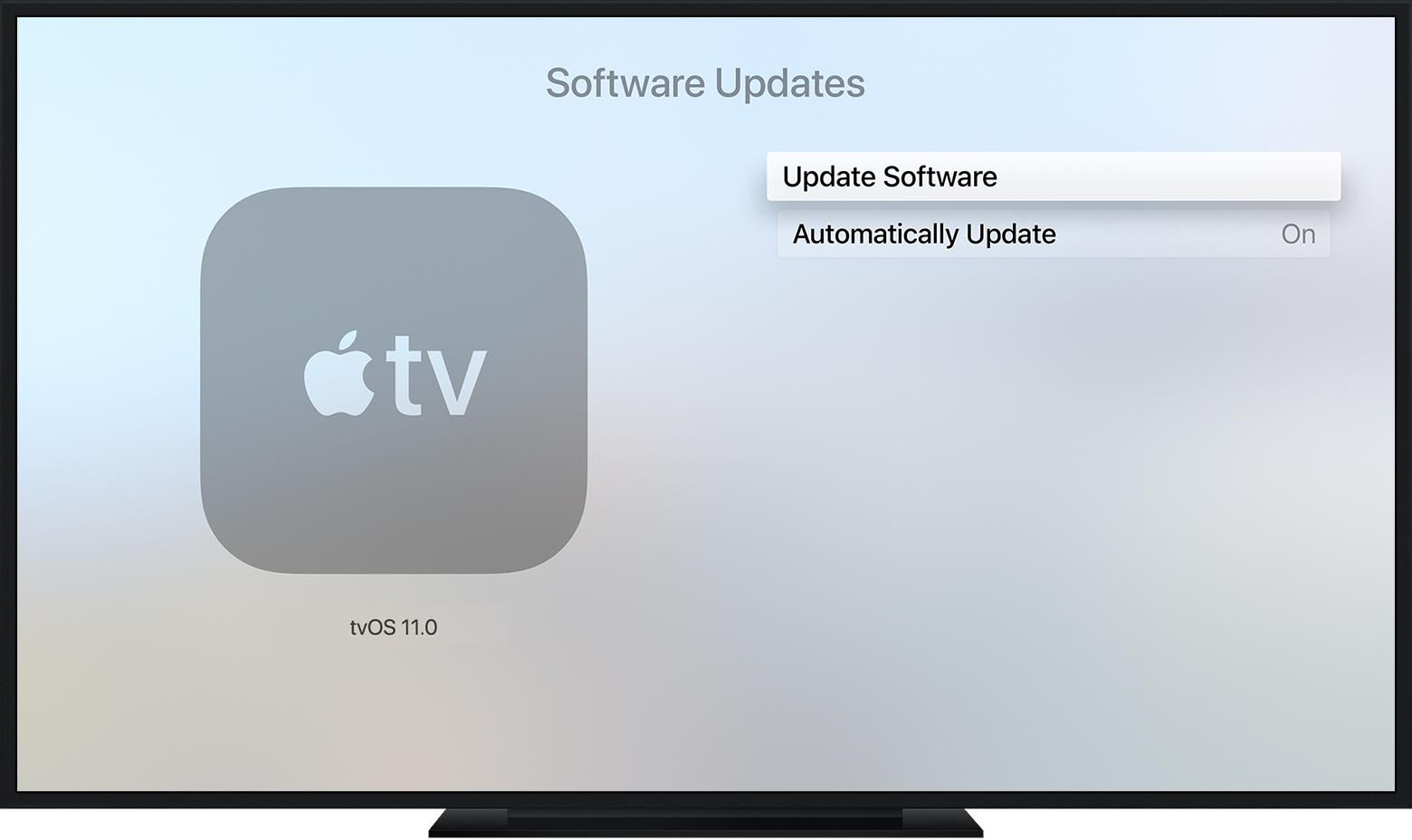 on apple tv 4k or apple tv 4th generation go to settings system software updates and select update software