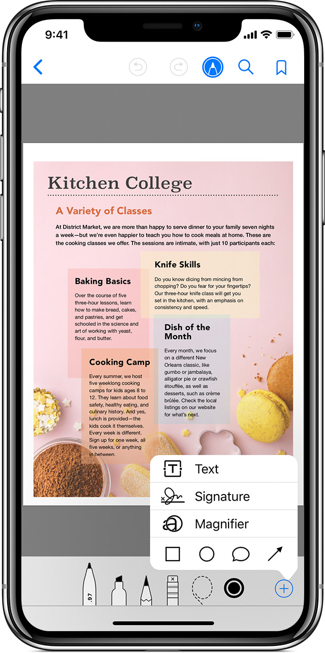 hight resolution of an iphone x with the apple books app open to a pdf with the markup menu