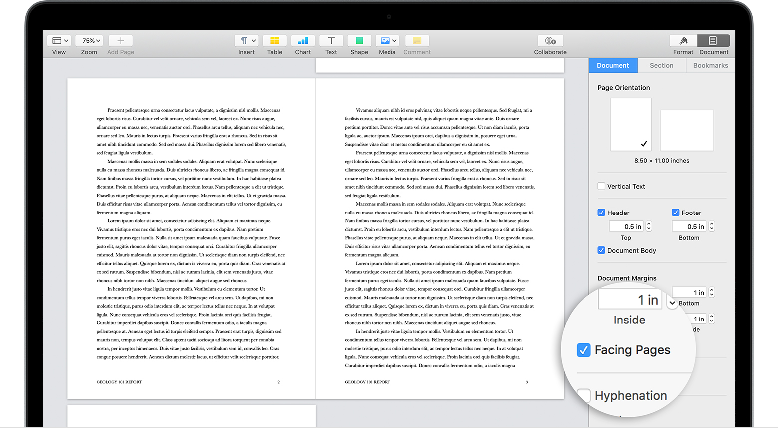 Set Up Your Document In Pages