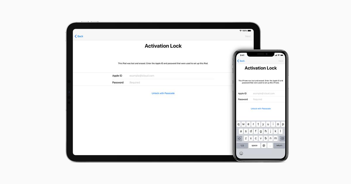 Bloqueo de activación para iPhone, iPad y iPod touch