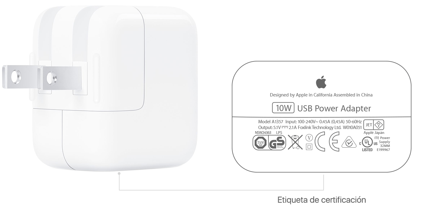 Acerca de los adaptadores de corriente USB de Apple