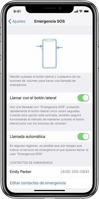 Ajustes de SOS en el iPhoneX