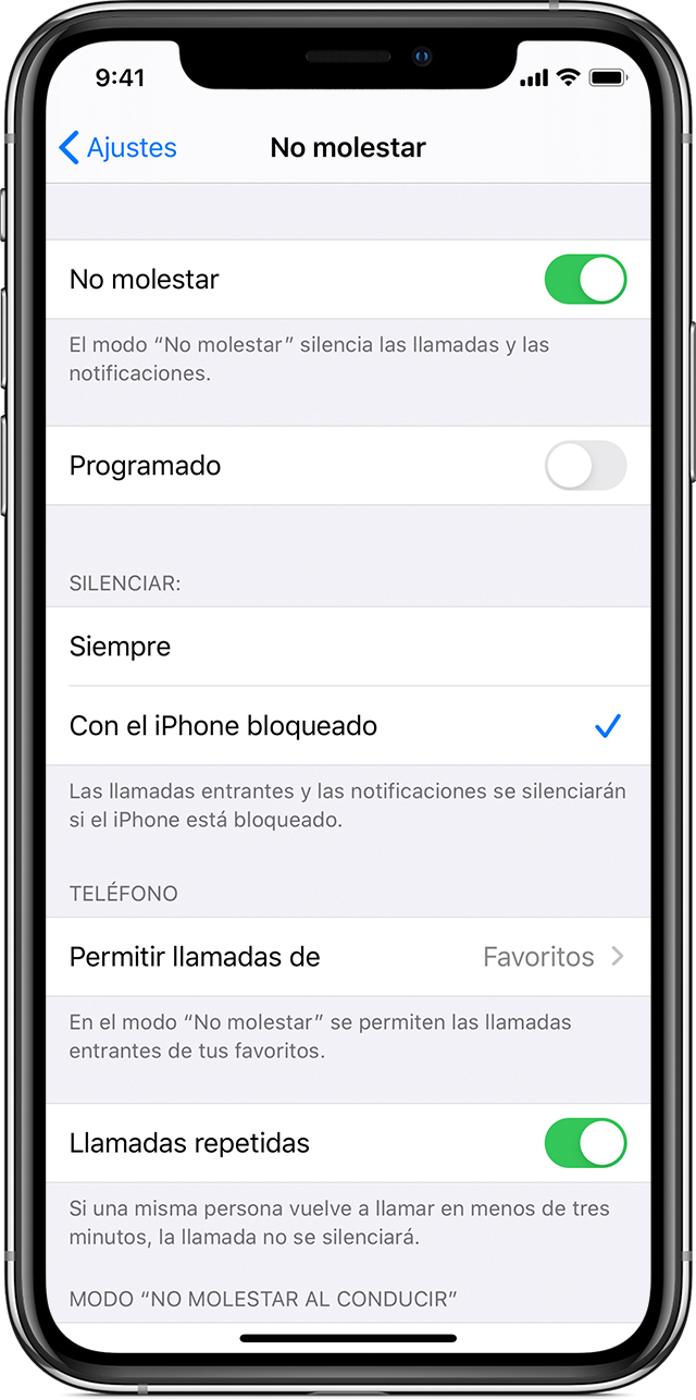 Utilizar No molestar en el iPhone, iPad y iPod touch