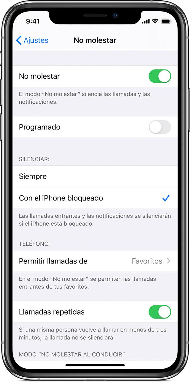 Utilizar No molestar en el iPhone, iPad y iPod touch