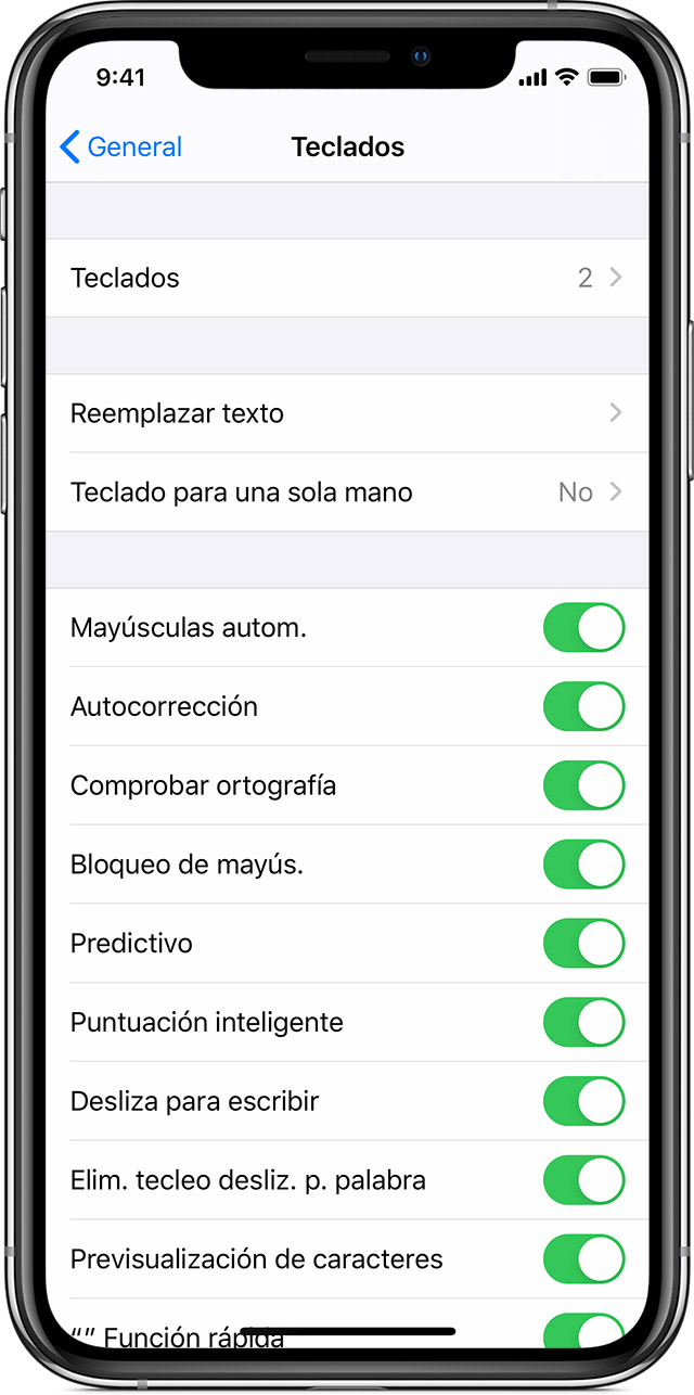 Acerca de la configuración de los teclados en el iPhone