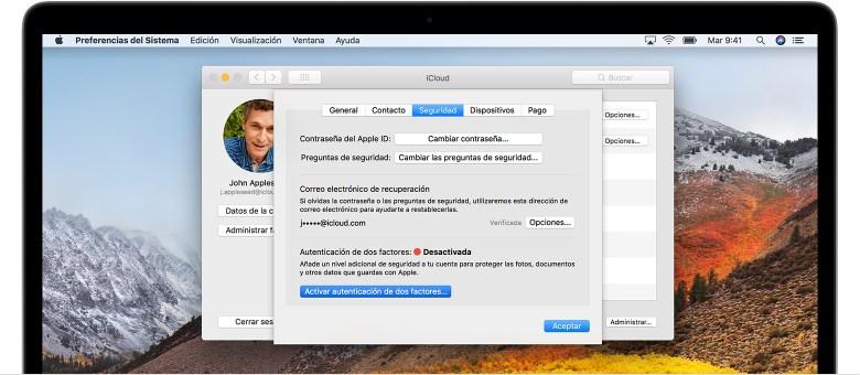 Pantalla de seguridad de iCloud en la Mac